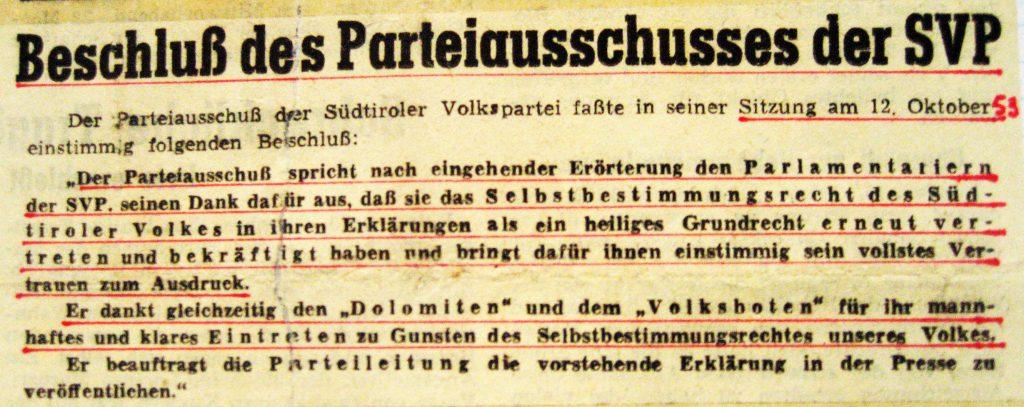 """""""Dolomiten"""" vom 16. Oktober 1953"""